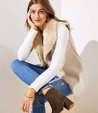 LOFT Faux Fur Lined Vest