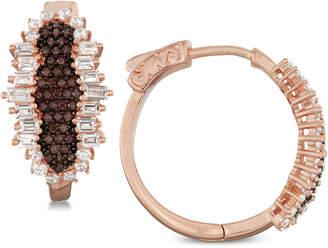 Tiara Cubic Zirconia Hoop Earrings in 14k Rose Gold-Plated Sterling Silver