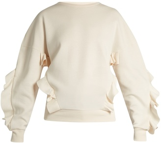 Ruffle-trimmed neoprene sweatshirt