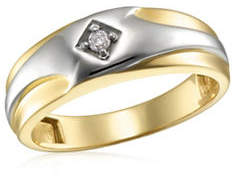 Tag Heuer FINE JEWELLERY Two-Toned 10K .05TCW Gold Diamond-Accented Wedding Band