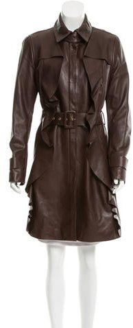 Valentino Valentino Leather Ruffle-Trimmed Coat w/ Tags