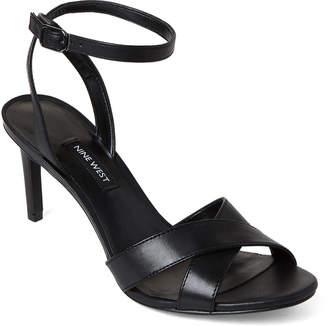 Nine West Black Apryle Ankle Strap Leather Sandals
