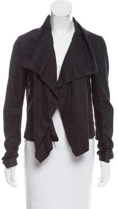 Veda Leather-Trimmed Linen Jacket
