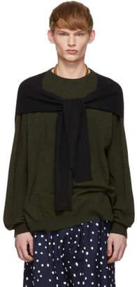 Loewe Khaki and Black Cashmere Shoulder Sleeve Sweater
