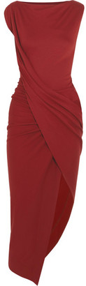 Vivienne Westwood Anglomania - Vian Draped Asymmetric Stretch-jersey Midi Dress - Merlot $520 thestylecure.com