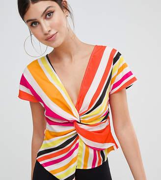 PrettyLittleThing Rainbow Stripe Twist Front Top