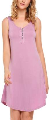 Goldenfox Pajama Ladies Button Down Sleeveless Plus Size Breastfeeding Sleepwear (, XL)