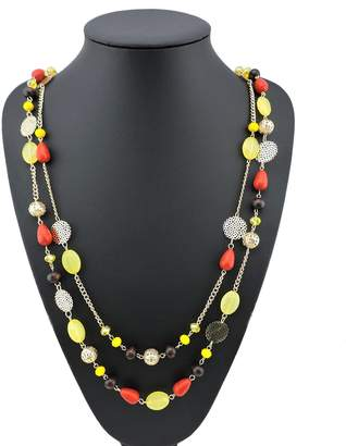 BOCAR 14K Gold Plated Link Chain 2 Layer Crystal Wood Acrylic Women Party Long Necklace Gift (NK-)
