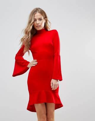 Oh My Love Pephem Midi Dress With Flare Sleeve