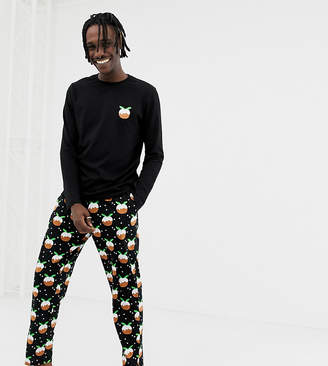 Asos Design DESIGN mix & match lounge joggers with Christmas pud design