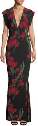 Norma Kamali Floral V-Neck Rectangle Gown