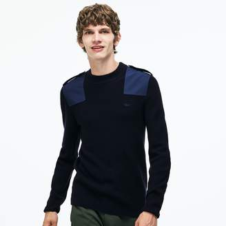 Lacoste Men's Crew Neck Colorblock Ribbed Wool And Cotton Sweater