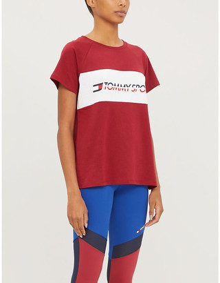 TOMMY SPORT Logo-print cotton-blend T-shirt
