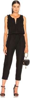 Enza Costa Linen Sleeveless Ruffle Jumpsuit