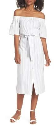 Charles Henry Off the Shoulder Cotton Midi Dress