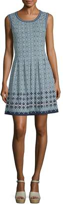 Max Studio Women's Tile Print Fit-and-Flare Dress