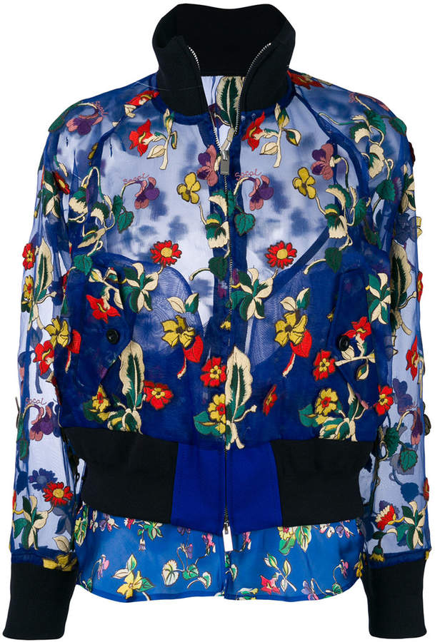 floral embroidered sheer bomber jacket