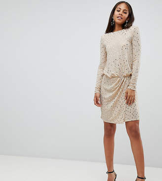 Flounce London Tall Sequin Mini Dress With Shoulder Pads