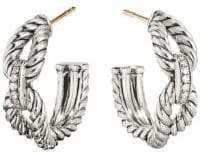David Yurman Crossover Sterling Silver & Diamond Cable Loop Earrings