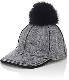 Lola Hats Women's Fur Pom-Pom Baseball Cap-Gray