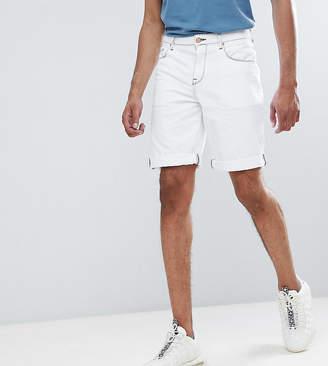 Asos DESIGN Tall Denim Shorts In Slim White Contrast Stitch