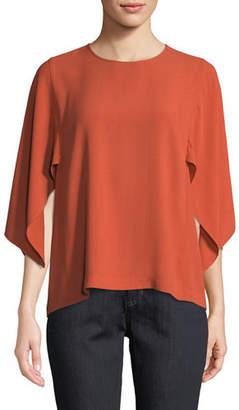 Eileen Fisher Cape-Sleeve Silk Top, Petite