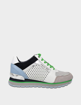 d52c27d4e5a8 MICHAEL Michael Kors Billie Trainers in Optic White and Admiral Perforated  Nappa and Patent Leathers
