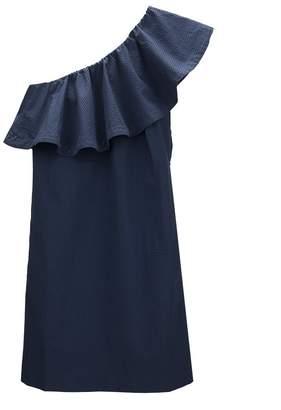 Cuyana Seersucker One-Shoulder Dress