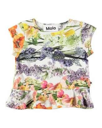 Molo Ebba Peplum-Hem Floral-Print Tee, Size 6-24 Months