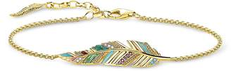 Thomas Sabo Gold Plated Sterling Silver, Enamel and Glass-ceramic Stones Feather Bracelet