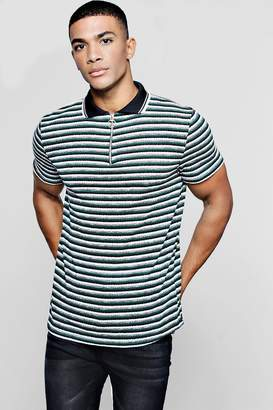 boohoo Knitted Stripe Polo With Zip