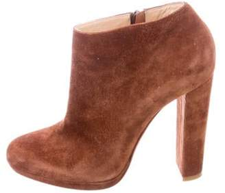 Christian Louboutin Suede Round-Toe Boots Brown Suede Round-Toe Boots