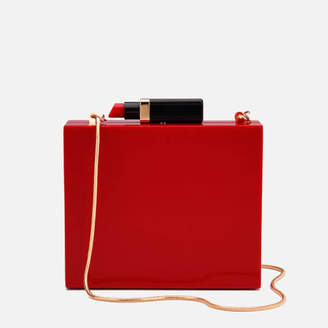 At Mybag Lulu Guinness Women S Chloe Perspex Clutch Bag With Lipstick Red