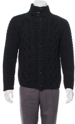 Burberry Leather-Accented Button-Up Cardigan