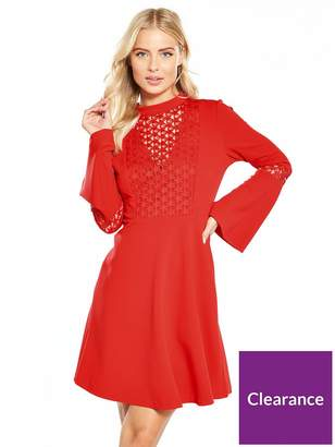 Very Star Lace Bodice Fit And Flare Dress