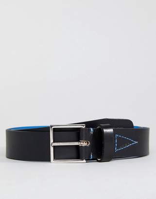 Paul Smith Leather Belt With Fluro Lining In Black