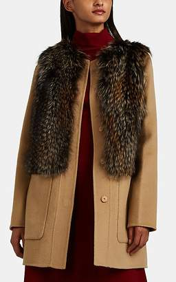 Barneys New York Women's Fox-Fur-Trimmed Wool-Cashmere Melton Jacket - Lt. brown