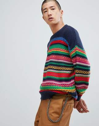 Asos Design DESIGN MULTICOLOR striped textured sweater