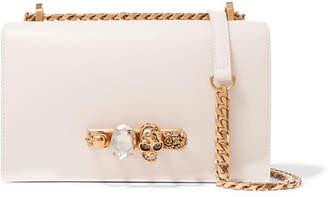Alexander McQueen Jewelled Satchel Embellished Leather Shoulder Bag - Off-white