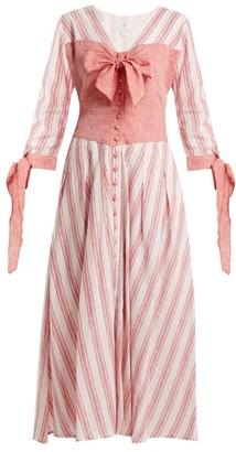 Gül Hürgel - Bow Detail Striped Linen Blend Dress - Womens - Pink Stripe