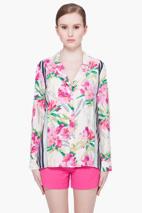 ELIZABETH AND JAMES Floral Silk Pyjama Top