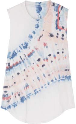 Raquel Allegra Tie-dyed Cotton-blend Jersey Tank - Light gray