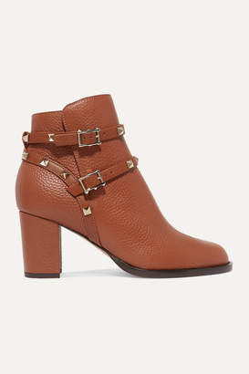 Valentino Garavani The Rockstud 70 Textured-leather Ankle Boots - Tan