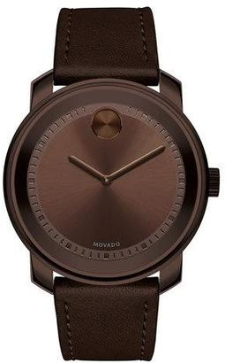 Movado 42.5mm Bold Watch with Leather Strap, Chocolate $595 thestylecure.com
