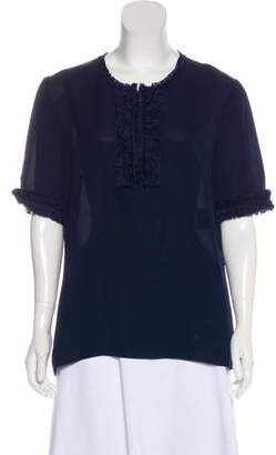 Andrew Gn Silk Short Sleeve Top