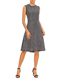 St. John Opulent Tweed Knit Fit & Flare Dress