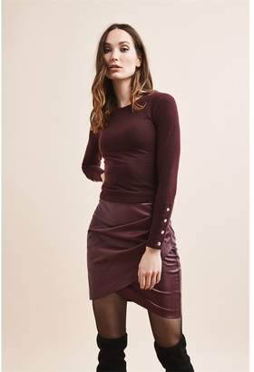 Dynamite Long Sleeve Crew Neck Top With Snaps Perfect Burgundy