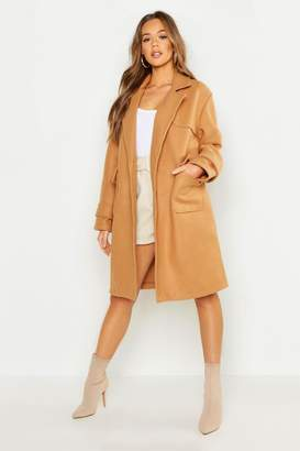 boohoo Pocket Detail Utility Wool Look Coat