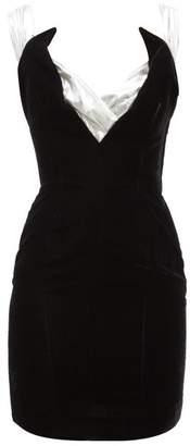Thierry Mugler William Vintage Velvet And Lame Mini Dress - Womens - Black White