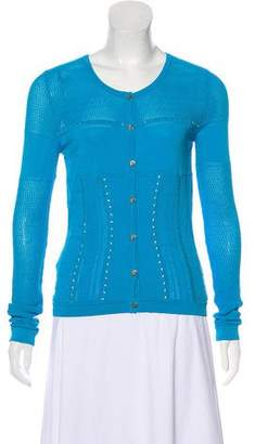 Versace Embellished Open Knit Cardigan